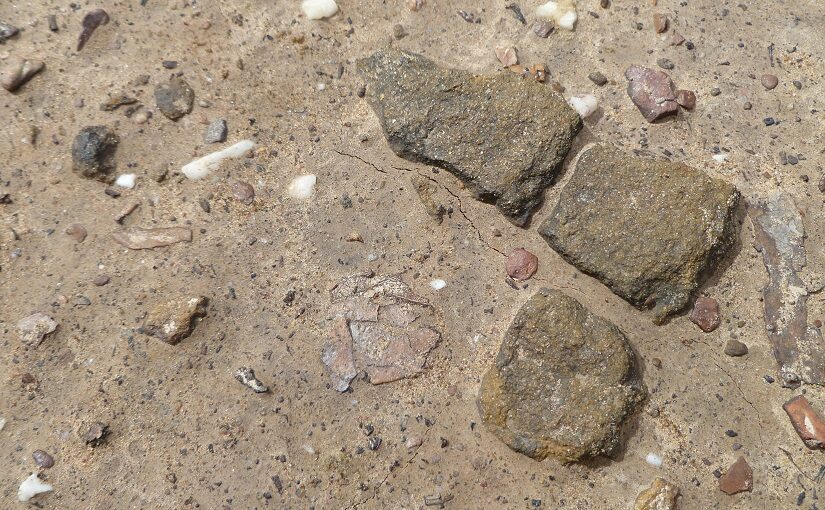 The square rocks embedded in a path
