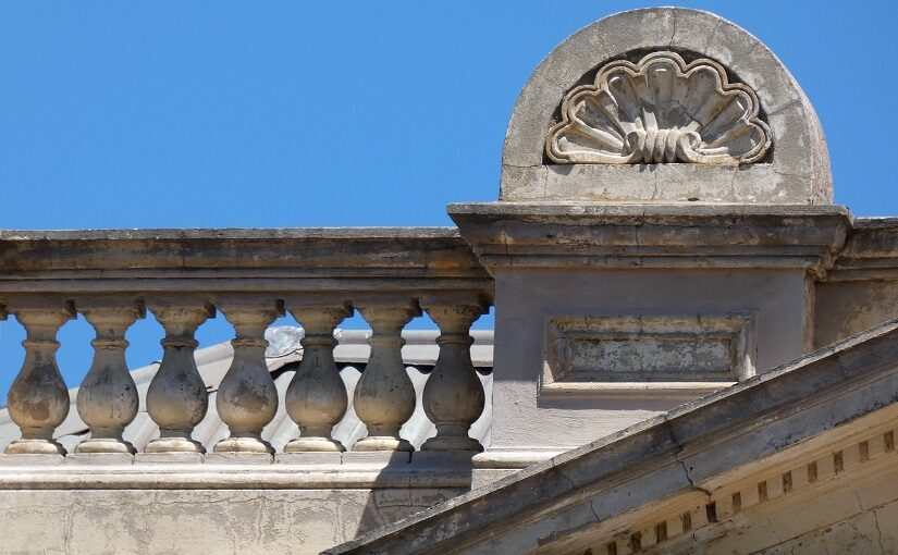 Stone details on top of building
